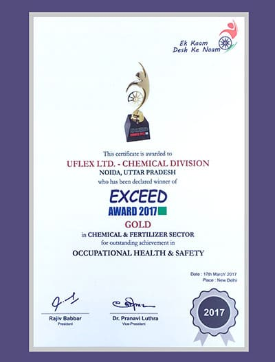 EXCEED Award 2017 (Gold) to Chemicals Business, Uflex Limited for Occupational Health and Safey