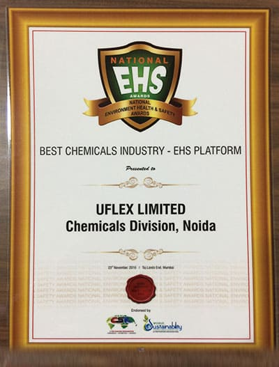 National EHS Award conferred upon Uflex Chemicals for sustained positive impact on environment through conservation of natural resources. The award has been endorsed by World CSR DAY & World Sustainability Congress.