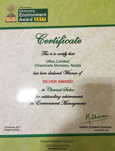 GREENTECH Environment Award (Silver) 2017 to Chemicals Business of Uflex Limited for outstanding achievement in Environment Management.