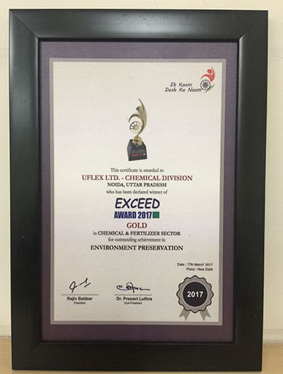 EXCEED Award 2017 (Gold) to Chemicals Business, Uflex Limited for Environment Preservation