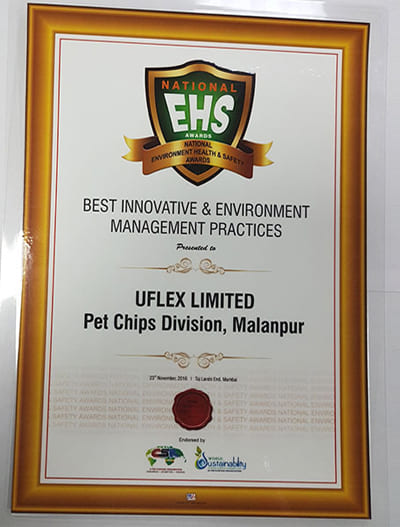 UFlex PET Chips Plant (Malanpur) conferred with the National EHS Award for Best Innovative and Environment Management Practices by World Environment Congress