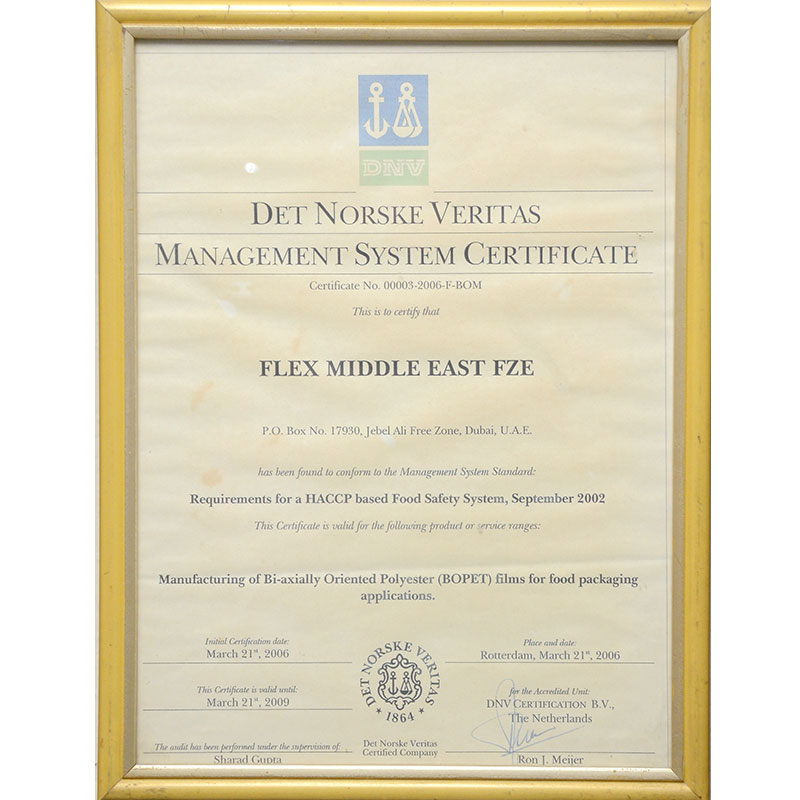 Historic Recognition / Accreditation Received by Uflex