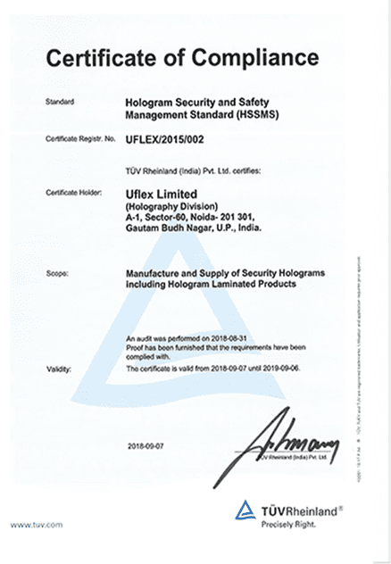 Holography Hologram Security & Safety Management Standard