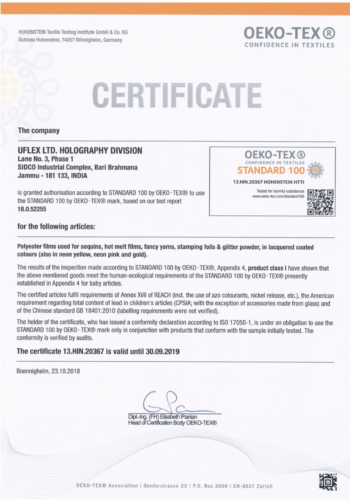 Holography Oeko Tex Certification