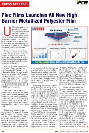 Flex Films Launches All New High  Barrier Metallized Polyester Film – reports IFCA    January – March 2018 edition