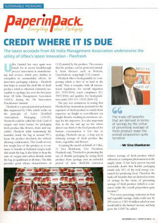 Credit Where it is Due – reports Paperinpack Magazine