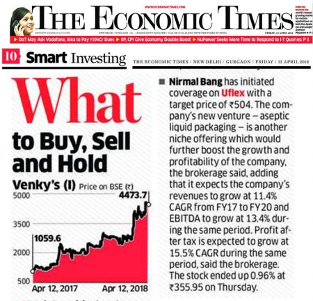 The Economic Times features synopsis of Uflex's Research initiated by Broking House – Nirmal Bang