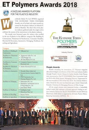 Uflex Chairman receives Economic Times Polymers Lifetime Achievement Award 2018 –  reports The ET Polymers | April – May 2018 edition