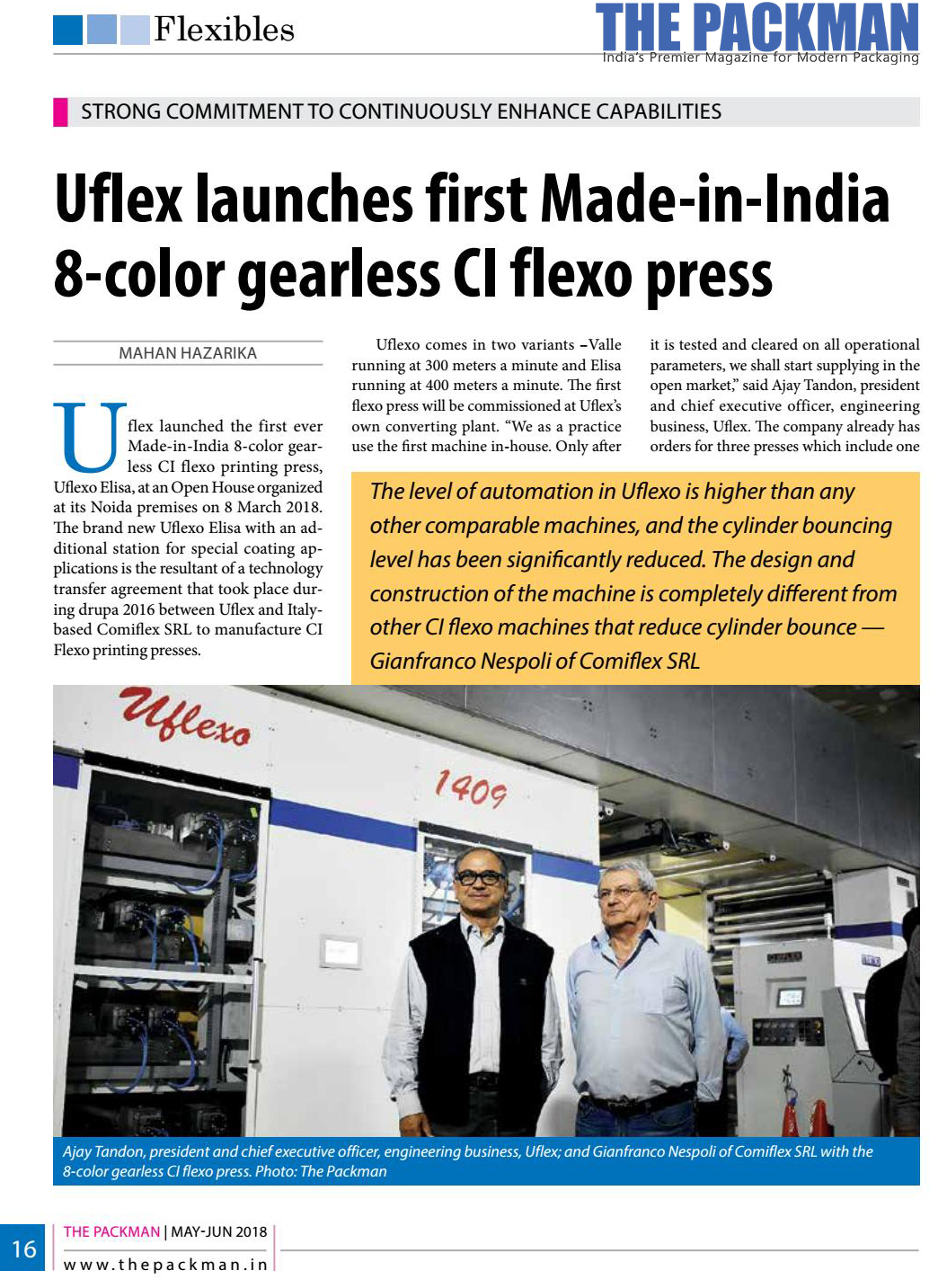 Uflex unveils first in house made gearless C.I. flexo printing machine  – reports THE PACKMAN | MAY-JUN 2018 edition
