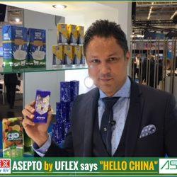 ASEPTO by UFLEX says 'HELLO CHINA'