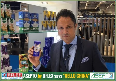 ASEPTO by UFLEX says 'HELLO CHINA'