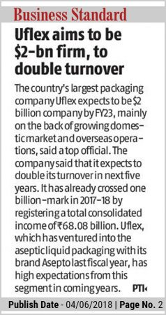 Uflex aims to be $2-bn firm, to double tornover – reports Business Standard | June 2018 edition
