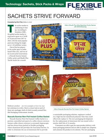 Sachets Strive Forward – reports Flexible Packaging | June 2018 edition