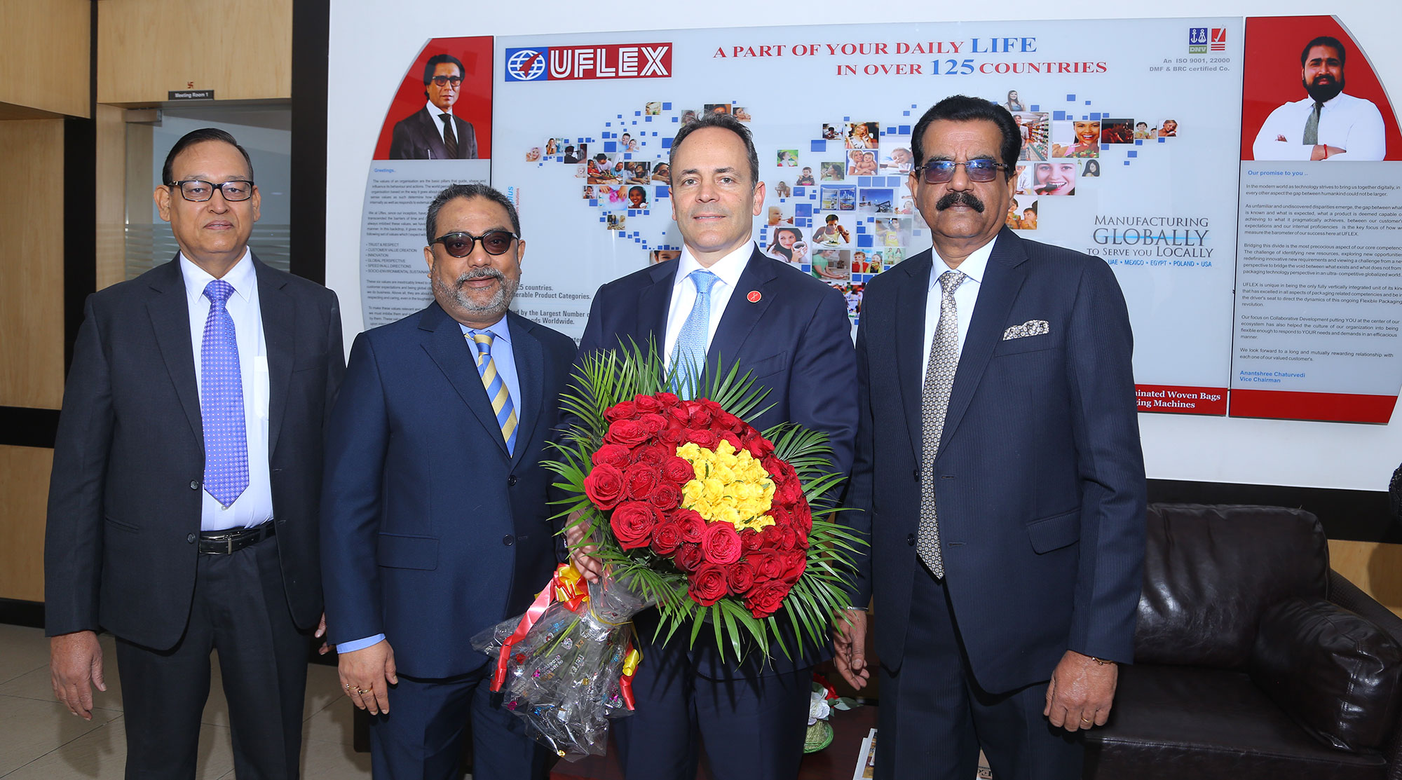 L-R 1- Dilip Dosi, Jt Pres - Prod & Ops- Films Business, Uflex; 2-Chandan Chattaraj, Pres-Global HR, Uflex; 3 -Gov Matt Bevin of Kentucky; 4-Jagmohan Mongia, Pres-Films Business, Uflex