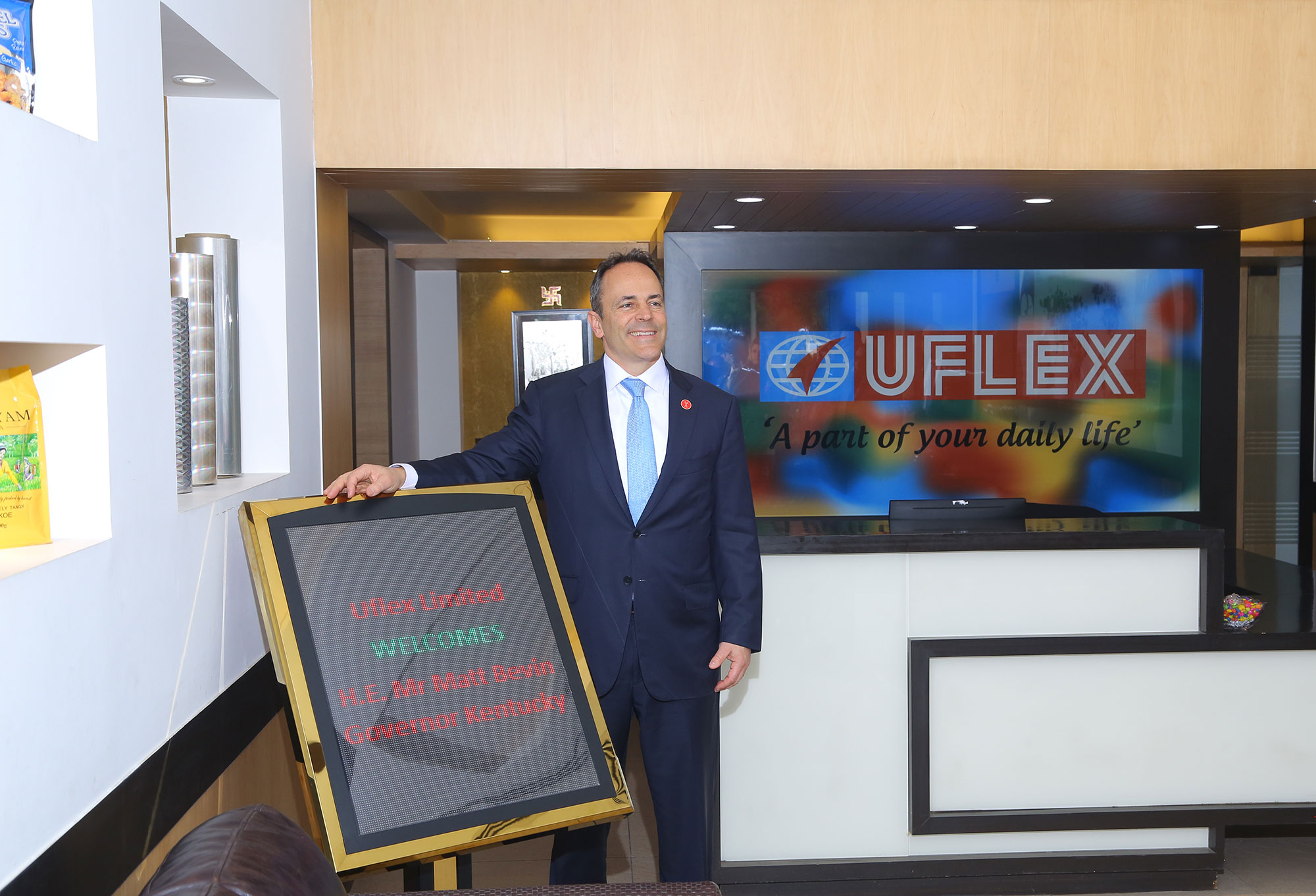 Gov Matt Bevin at Uflex Office