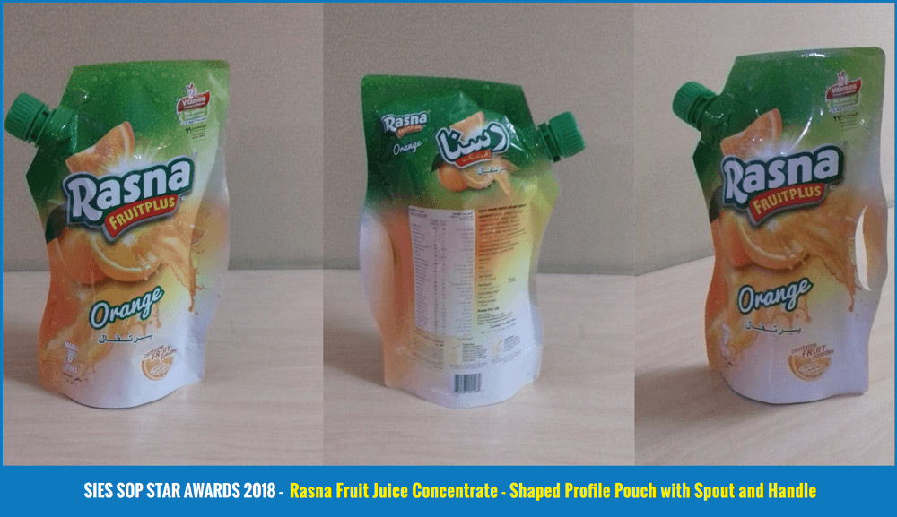 Rasna Fruit Juice Concentrate - Shaped Profile Pouch with Spout and Handle