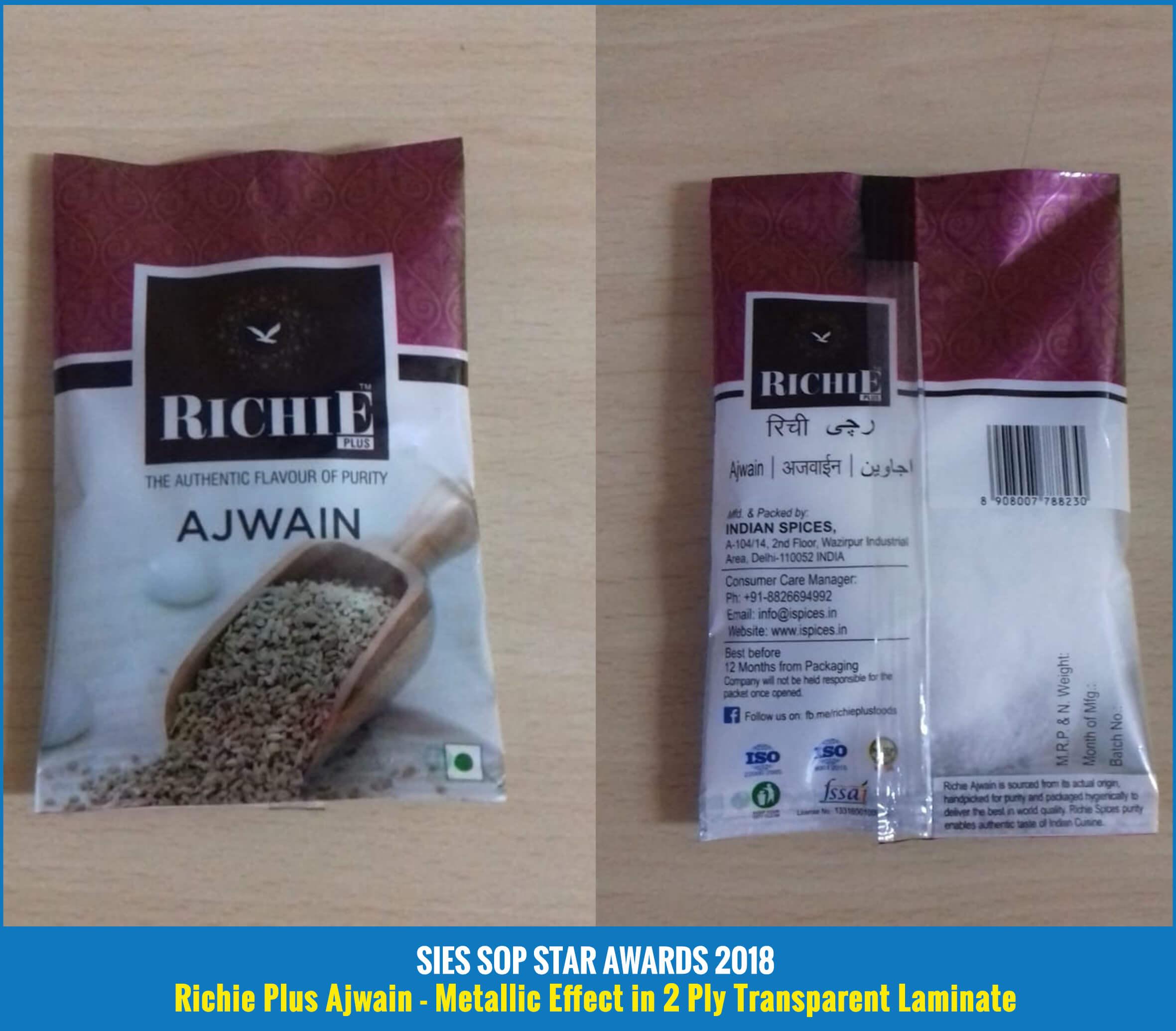 Richie Plus Ajwain - Metallic Effect in 2 Ply Transparent Laminate