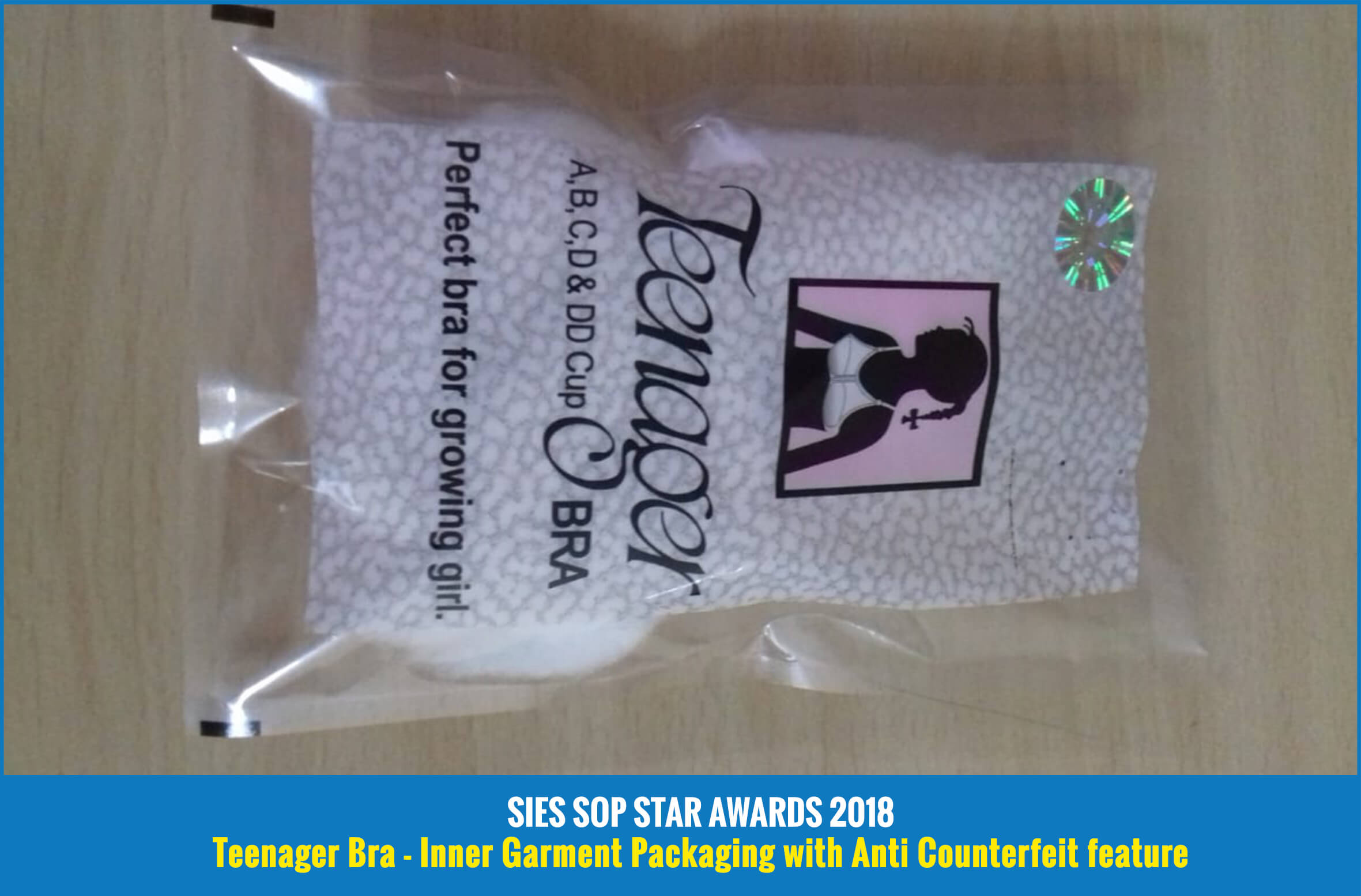 Teenager Bra - Inner Garment Packaging with Anti Counterfeit feature