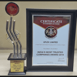 Uflex has been awarded India's Most Trusted Company 2019 by International Brand Consulting Corporation, USA