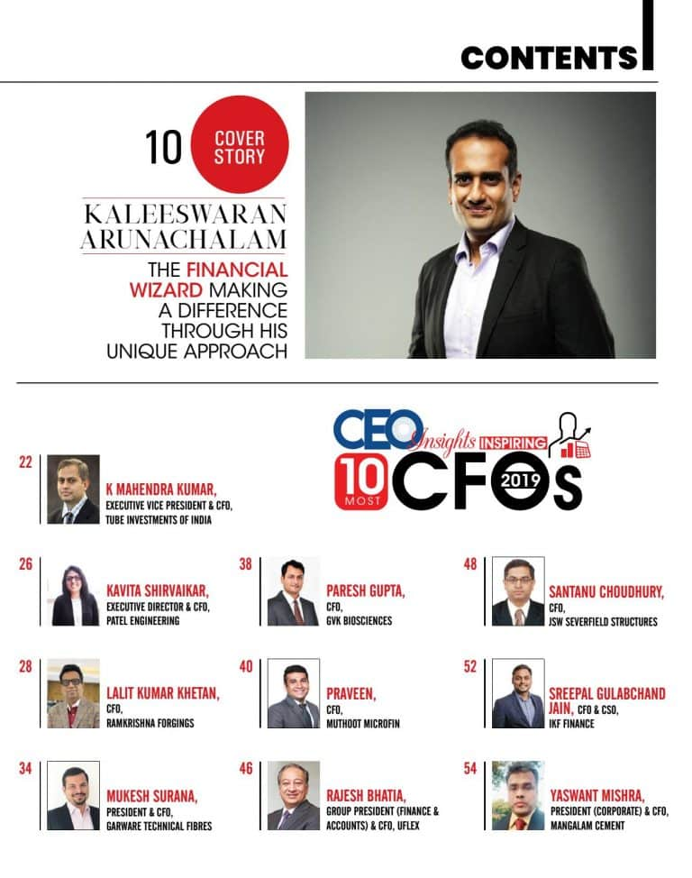 CEO Insights interview with UFlex Group CFO Rajesh Bhatia in their latest issue featuring '10 Most Inspiring CFOs – 2019′